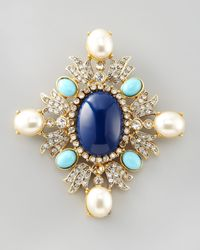 Kenneth Jay Lane | Multicolor Enamel Crystal Brooch | Lyst