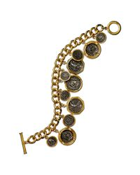 Lauren by Ralph Lauren | Black 14k Gold Plated Coin Charm Bracelet | Lyst