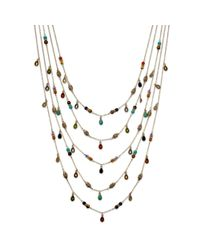 Lauren by Ralph Lauren | Metallic 14k Gold Plated Multibead Fiverow Necklace | Lyst