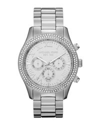 Michael Kors | Metallic Midsize Silver Color Stainless Steel Layton Chronograph Glitz Watch | Lyst