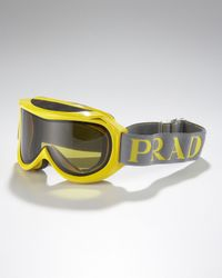 Prada - Yellow Logo-Strap Ski Goggles for Men - Lyst