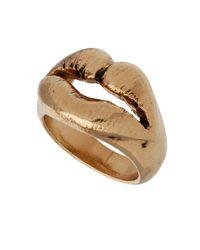 TOPSHOP - Metallic Luxe Lips Ring - Lyst