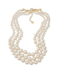 Carolee - Metallic 12k Gold Plated Imitation Pearl Threerow Statement Necklace - Lyst