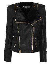 Balmain | Black Shearling Biker Jacket | Lyst