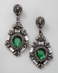 Lanvin - Green Crystal Drop Earrings - Lyst