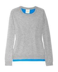 Mason by Michelle Mason | Blue Silk Backed Fine Knit Cashmere Top | Lyst