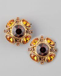 Oscar de la Renta - Metallic Crystal Stud Earrings  - Lyst