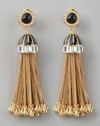 Rachel Zoe | Black Rhinestone Tassel Drop Earrings | Lyst