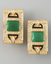 Rachel Zoe - Green Rectangular Clip Earrings  - Lyst