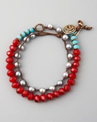 Love Heals - Turquoise Pearl Crystal Bracelet Red - Lyst