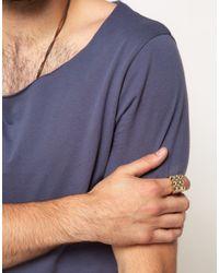 ASOS - Metallic Asos Gold Pyramid Stud Ring for Men - Lyst