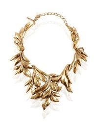 Oscar de la Renta | Gold Leaf Motif Collar Necklace | Lyst