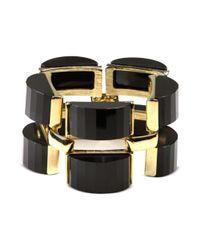 Anne Klein | Metallic Gold Tone Jet Stone Drama Flex Bracelet | Lyst