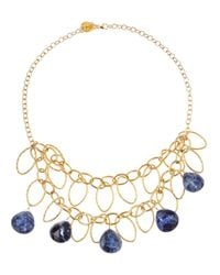 Devon Leigh | Metallic Lapis Drop Bib Necklace | Lyst