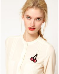Sonia by Sonia Rykiel - Red Cherry Brooch - Lyst