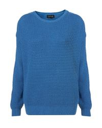 TOPSHOP | Blue Knitted Textured Grunge Jumper | Lyst