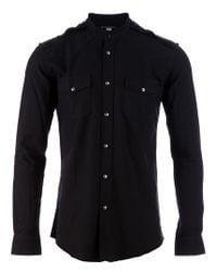 Balmain | Black Mandarin Collar Shirt for Men | Lyst