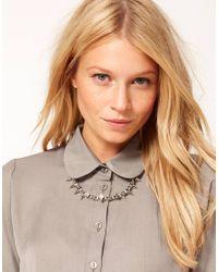 ASOS - Metallic Jewelled Spike Collar Necklace - Lyst