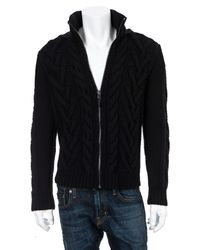 Michael Kors | Black Cableknit Hooded Zip Sweater for Men | Lyst