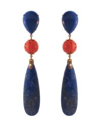 Silvia Furmanovich | Blue Summer Lapis Lazuli and Coral Fragment Earrings | Lyst