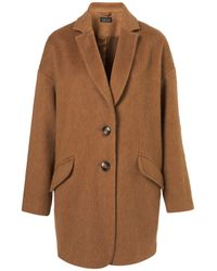TOPSHOP | Brown Mohair Boyfriend Coat | Lyst