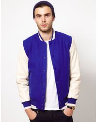 Asos Wool Baseball Jacket with Leather Look Sleeves in White for