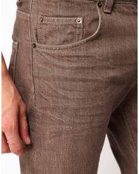 ASOS Brown Asos Slim Selvedge Jeans for men