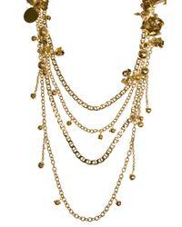 Elie Saab - Metallic Long Multichain Metal Flower Necklace - Lyst