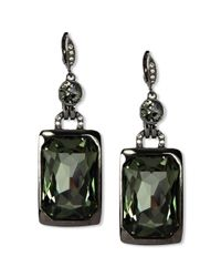 Givenchy | Black Light Hematite Tone Crystal Stone Drop Earrings | Lyst