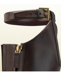 Gucci - Brown Victoria Equestrian Flat Leather Riding Boot - Lyst