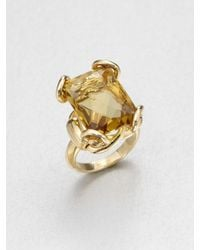 Gucci | Metallic Horsebit Cognac Quartz & 18K Yellow Gold Cocktail Ring | Lyst