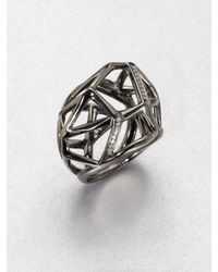 Ippolita - Metallic Diamond Blackened Sterling Silver Cage Pendant Ring - Lyst