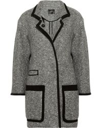 Isabel Marant | Gray Khan Suede Trimmed Bouclé Wool Blend Coat | Lyst