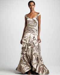 Nicole Miller   Silver Ruched Metallic Gown   Lyst