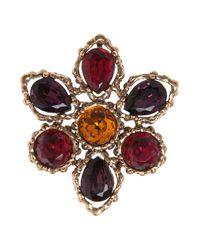 Oscar de la Renta - Metallic Gold Amethyst Siam Broche Necklace - Lyst