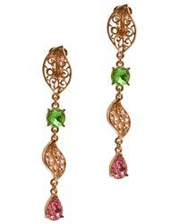 Oscar de la Renta - Green Leaf Drop Earrings - Lyst