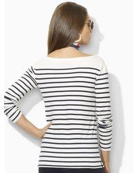 Ralph Lauren Blue Label - Natural Tori Striped Jersey Tee - Lyst