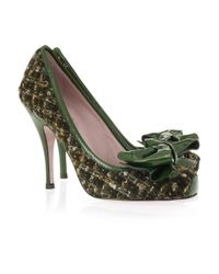 RED Valentino | Green Bow-embellished Tweed Pumps | Lyst