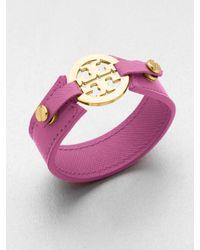 Tory Burch - Pink Logo Skinny Cuff - Lyst
