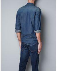Zara   Blue Studded Denim Shirt for Men   Lyst