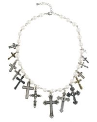 ASOS - Metallic Cross Charm Pearl Choker Necklace - Lyst
