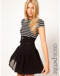 ASOS Black Dress with Stripe Top and Chiffon Skirt