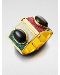 Fendi | Stone Accented Multicolor Stingray Leather Cuff | Lyst
