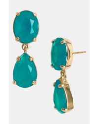 Kate Spade | Gold-tone Blue Crystal Drop Earrings | Lyst