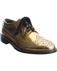 Marni | Gold Laminated Derby Brogue | Lyst