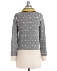 ModCloth | Gray Lauren Moffatt Double The Dots Sweater | Lyst
