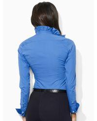 Ralph Lauren Blue Label - Blue Meesha Ruffle-front Shirt - Lyst