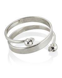 Alexander McQueen | Metallic Silver Spiral Skull Bracelet | Lyst