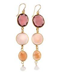 Devon Leigh - Yellow Quartz and Sunstone Earrings - Lyst