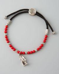John Hardy | Red Naga Charm Coral Bead Bracelet for Men | Lyst